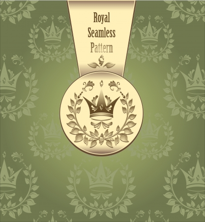 coronal: Royal seamless pattern with crown wreath leaves or Royal green gold color background for advertising something
