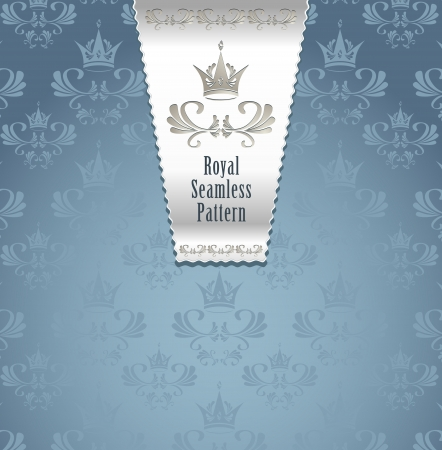 Royal seamless pattern with crown or Royal background blue and silver color  for advertising something