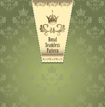 corona navidad: Royal seamless con corona o Royal fondo verde y el color oro por algo de publicidad