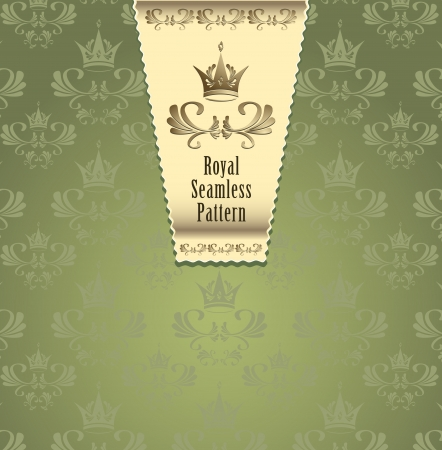 Royal seamless pattern with crown or Royal background green and gold color  for advertising something  Vector