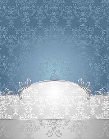 joyas de plata: Ajustar el patr�n sin costuras en colores de estilo victoriano azul y plata o de fondo azul plata