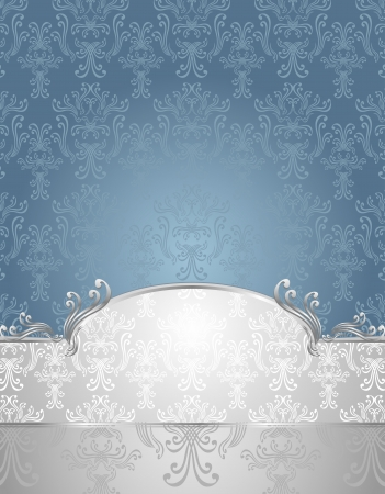 Set Seamless pattern in Victorian style Blue and Silver colors or silver blue background