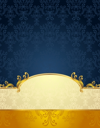 Set Seamless pattern in Victorian style Gold and Dark Blue colors or background Vector