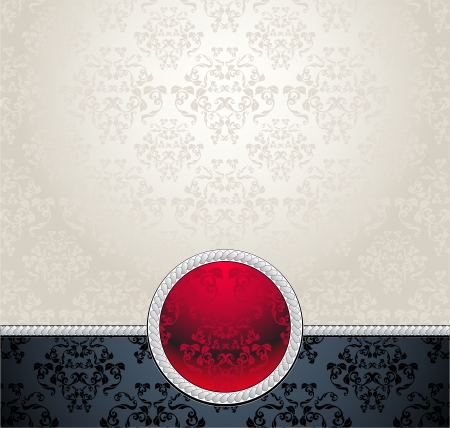 Set  Seamless pattern in Victorian with flowers Red Black Silver colors for advertising something Vector
