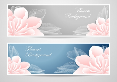 Two flowers banners on blue grey background for advertising something Vectores