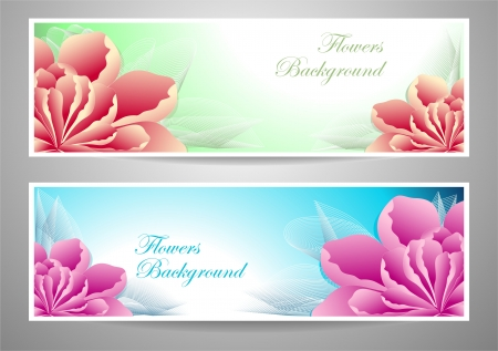 Two flowers banners red magenta peony  on green marine background for advertising something Illustration