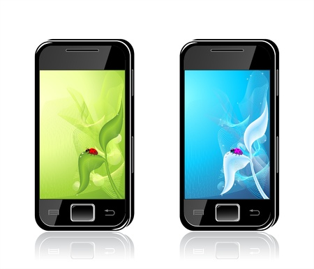 Two mobile phones with  ladybird on leaf  Backgrounds in  green  blue colors Vector