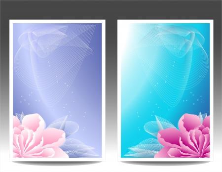 Two flowers banners or background with pink magenta peony background for advertising something