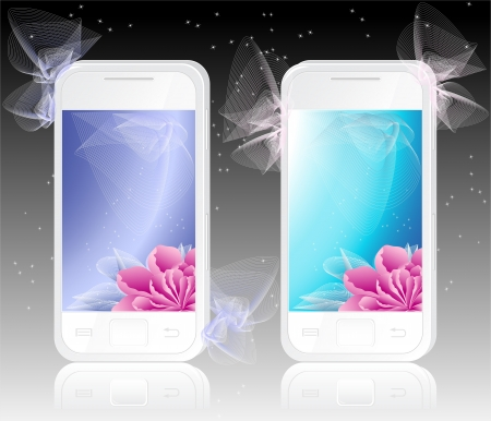 Two white mobile phones with  flowers   Backgrounds blue and marine colors  for women or girls Vector