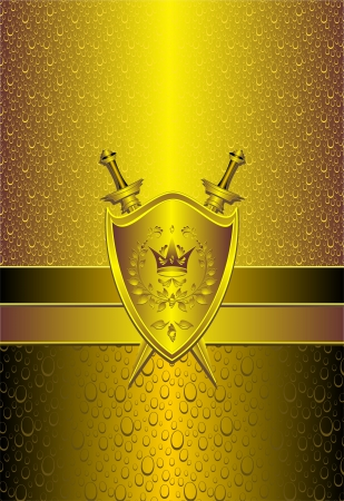 Seamless pattern with drops or shield swords on gold background for advertising protection property or other things   Vector