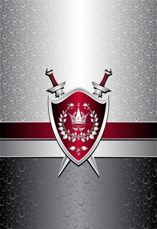 Seamless pattern with drops or shield swords on silver background for advertising protection property or other things   Vector