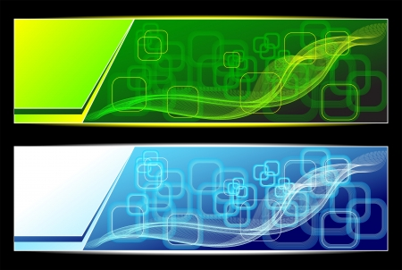 Two Abstract banners backgrounds in green blue colors for advertising information Vectores