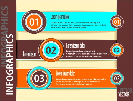 Set modern banners or template of  infographics  in orange brown cyan colors for advertising or news Vector