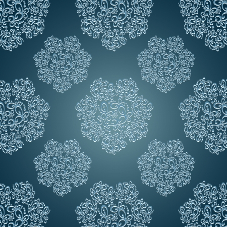 Seamless patterns with lace flowers in Victorian style blue Illustration