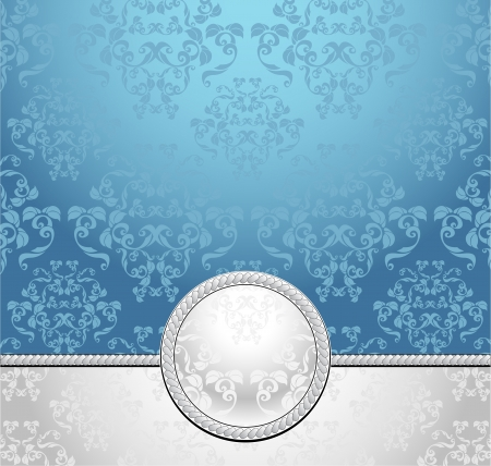 decorate mobile telephone: Set seamless patterns with flowers in Victorian style  light blue silver colors  Illustration
