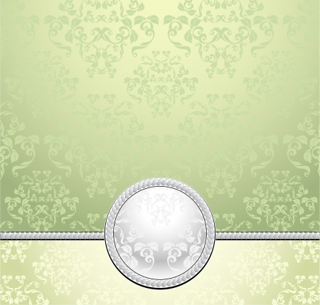 jewelry boxes: Set seamless patterns with flowers in Victorian style  light green yellow colors