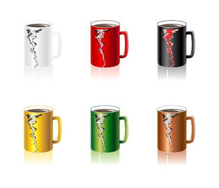 Set colorful Cups with abstract smoke