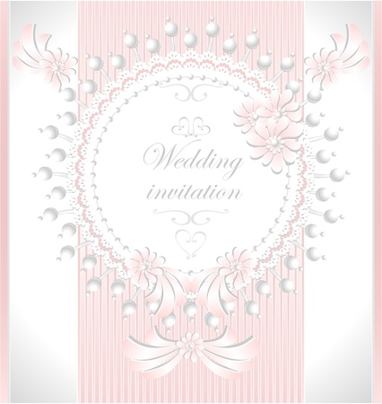 Wedding invitation or congratulation with pearls flowers in pink color Vectores