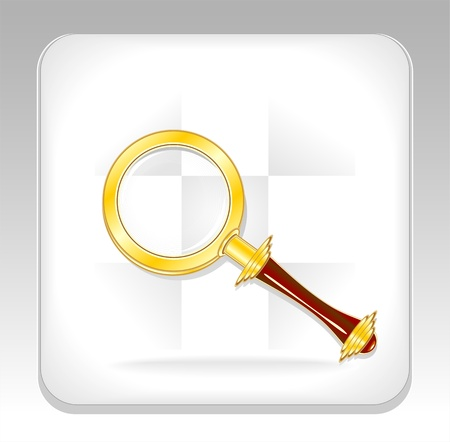 Gold magnifier icon or button Иллюстрация