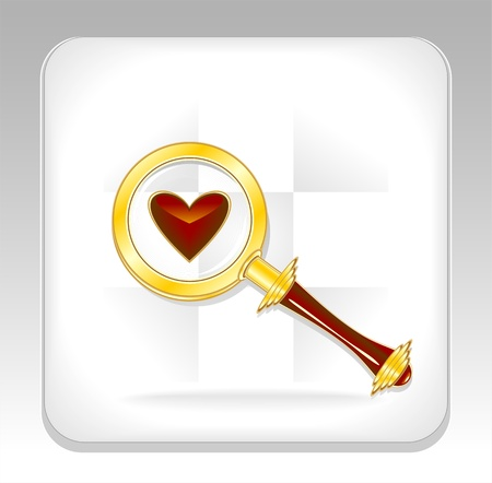 Gold magnifier icon or button with heart Stock Vector - 20237747