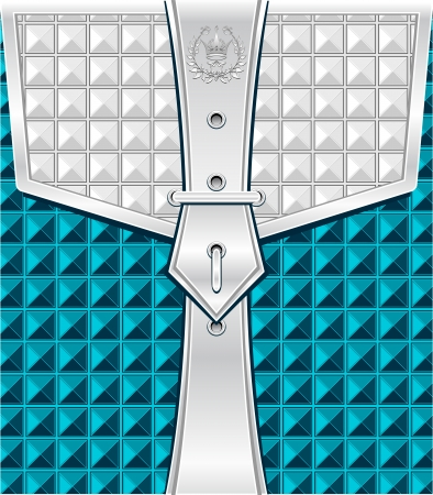 buckles: Background blue silver with geometric seamless pattern belt fastener for packing or other things  Illustration