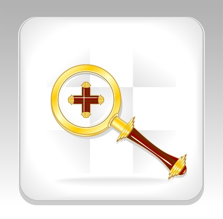 Gold magnifier icon or button with plus for web site or other things