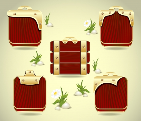 Set buttons or frames form wood and gold decoration  Vector