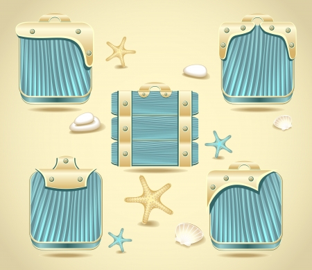 computer games: Set buttons or frames form blue wood and gold decoration in marine style for computer games and other things  Illustration