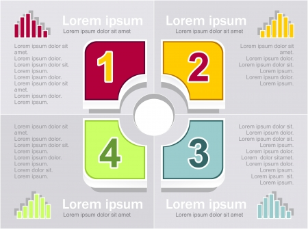 Infographics elements in square sectors  red green orange marine colors Vector