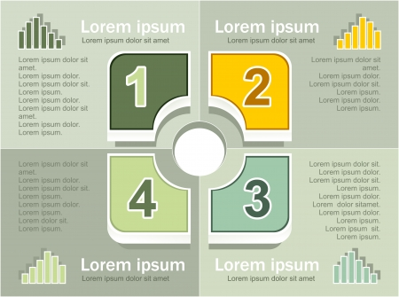 Infographics elements in square sectors on olive background