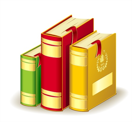 crone: Tree books gold red green colors with bookmarks