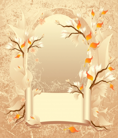 Autumn frame with a scroll, leaves, flowers with tree branches on grunge background Vector