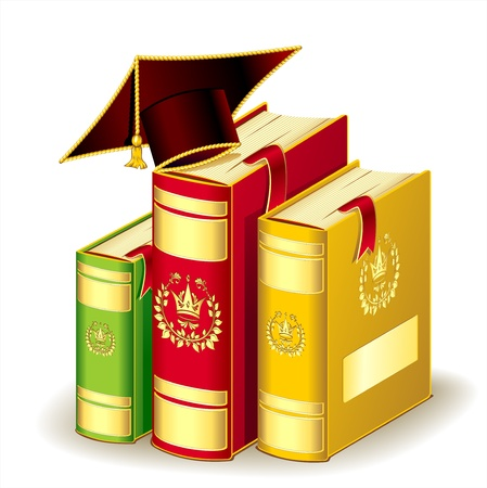 Books with Graduation cap Vector