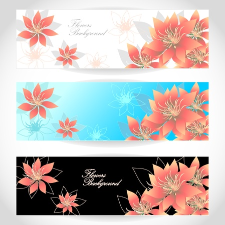 Set Flowers banners on white blue black background Vectores
