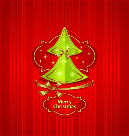 Christmas Tree with bows ribbons snowflakes stars on red background Creative Post Card   Vector
