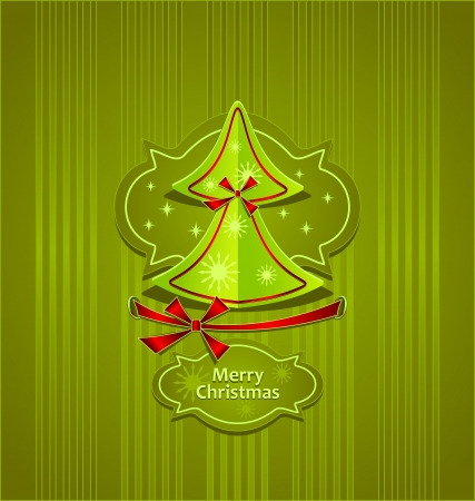 Christmas Tree with bows ribbons snowflakes stars on green background Creative Post Card  Vector