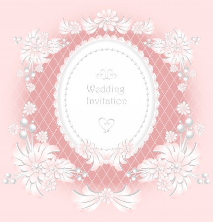 Wedding invitation or congratulation with pearls flowers in pink color retro Vector