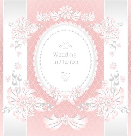 Uitnodiging van het huwelijk of felicitatie met parels bloemen in roze kleur Stock Illustratie