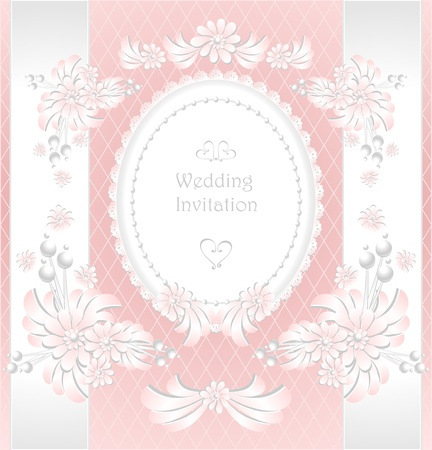 Wedding invitation or congratulation with pearls flowers in pink color Vector