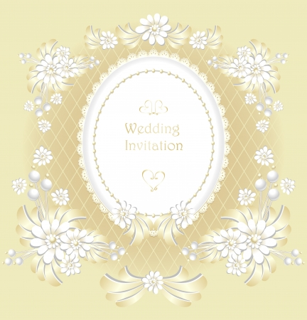Wedding invitation or congratulation  in gold color retro style Vector