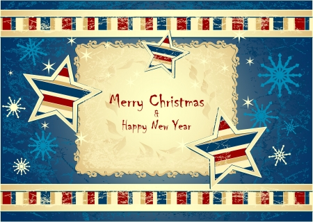 Merry Christmas Background with stars snowflakes with grunge effect dark blue colors Vector