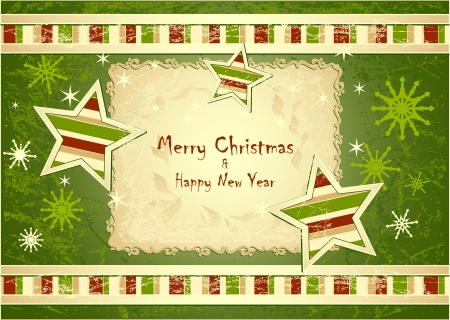 Merry Christmas Background with stars snowflakes with grunge effect green colors Vector