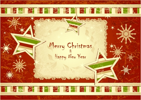 Merry Christmas Background with stars snowflakes with grunge effect red colors Vector