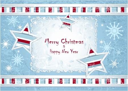 Merry Christmas Background with stars snowflakes with hoarfrost effect light blue colors Vector
