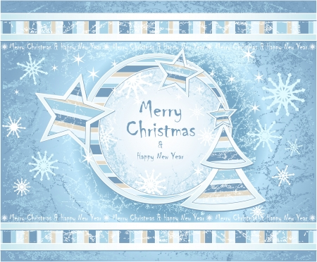 Background with Christmas Tree stars snowflakes with hoarfrost effect light blue colors Vector