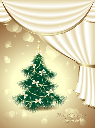 post card: Post card with Christmas Tree bows, stars, garland light, white drapes