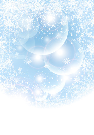 Abstract winter background with transparent balls,  light, snowflakes blue Vector