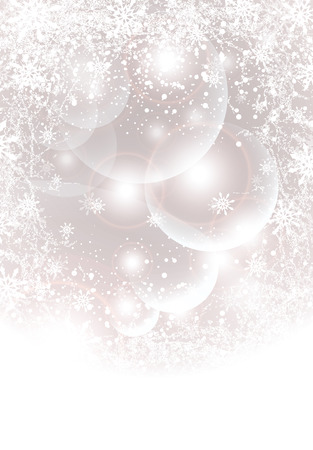 Abstract winter background with transparent balls,  light, snowflakes  Vector