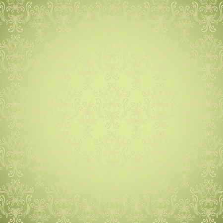 Seamless pattern in Victorian style light green colors Vector