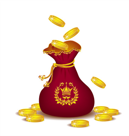 Bag of gold coins: túi Royal với đồng tiền vàng Hình minh hoạ
